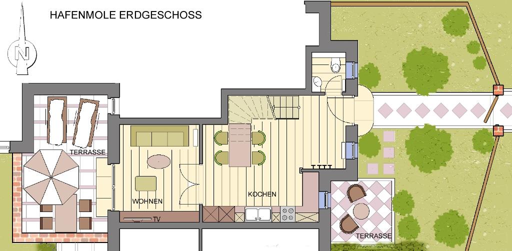 Erdgeschoss Gästehaus Treibholz